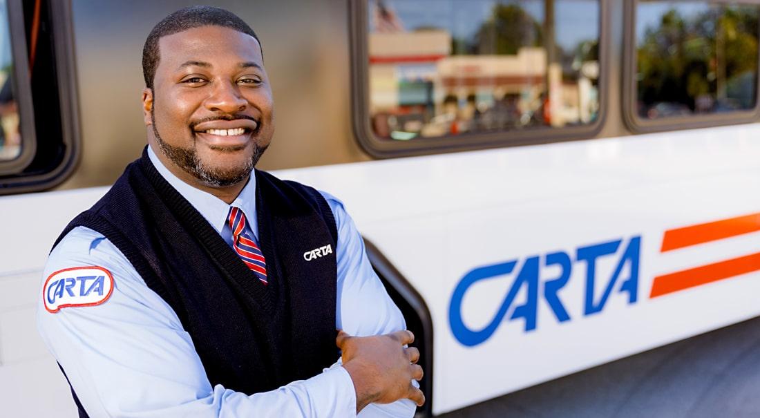cheerful CARTA bus driver