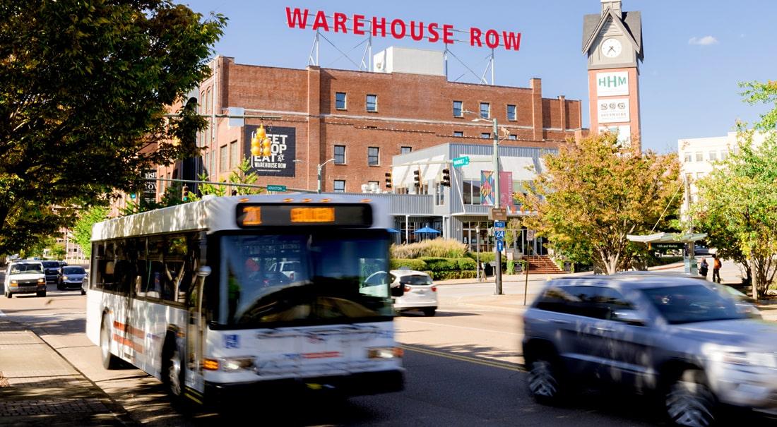 CARTA bus at Warehouse Row