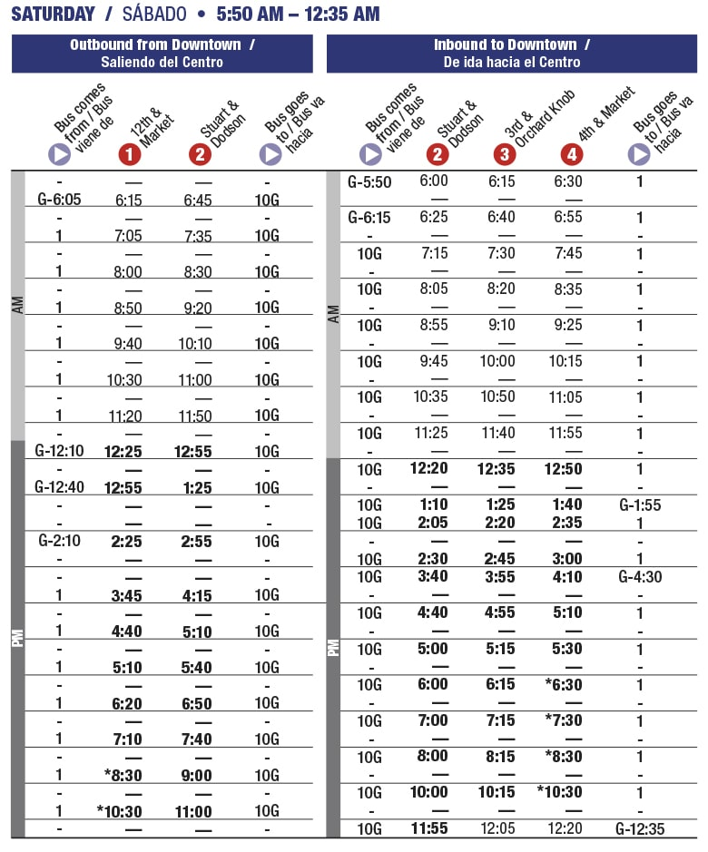 Rt 10 Avondale Saturday schedule