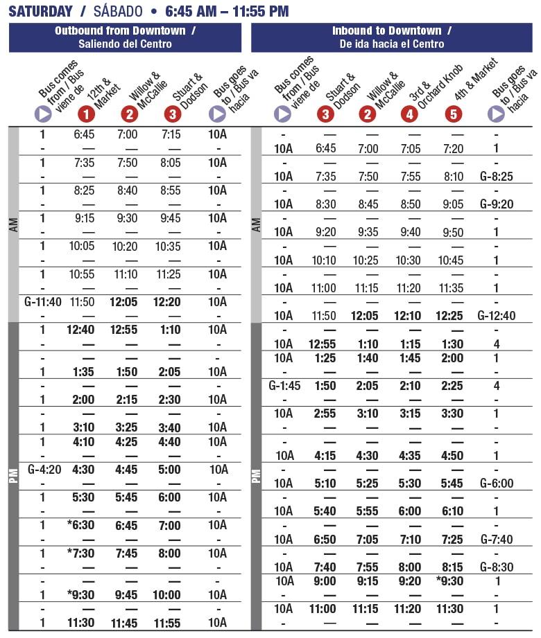 Rt 10G Glenwood. Saturday schedule