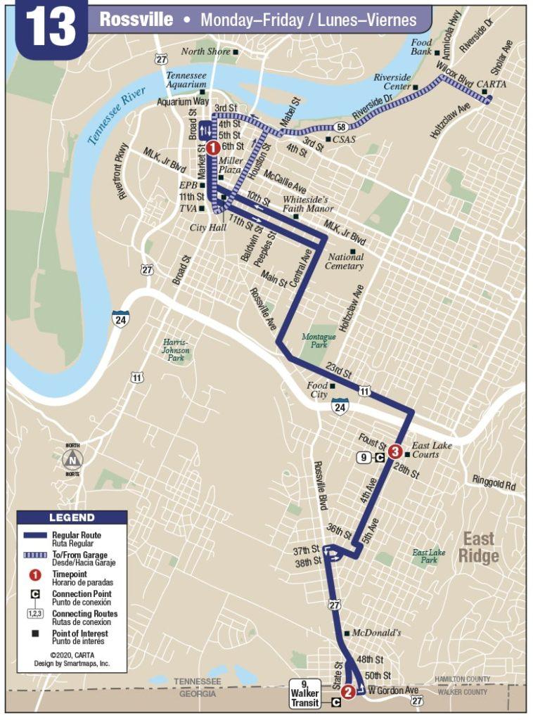 Rt 13 Rossville map