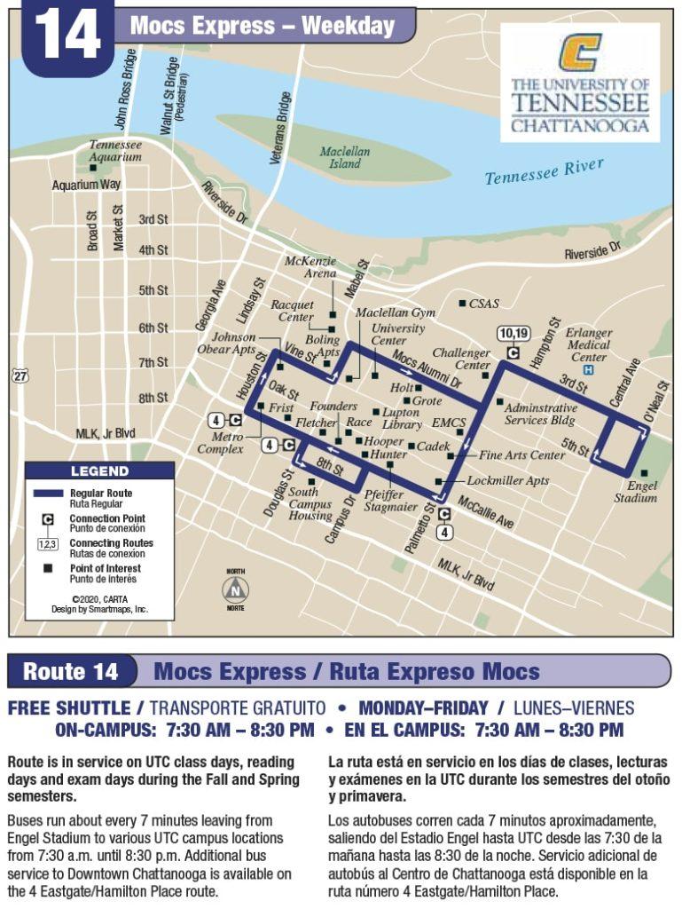 Rt 14 Mocs Express map