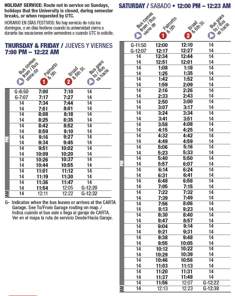 Rt 14 Mocs Express schedule