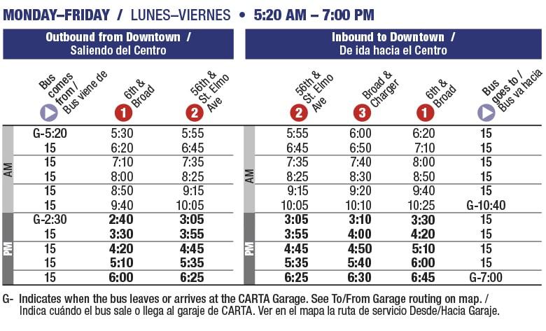 Rt 15 Saint Elmo schedule