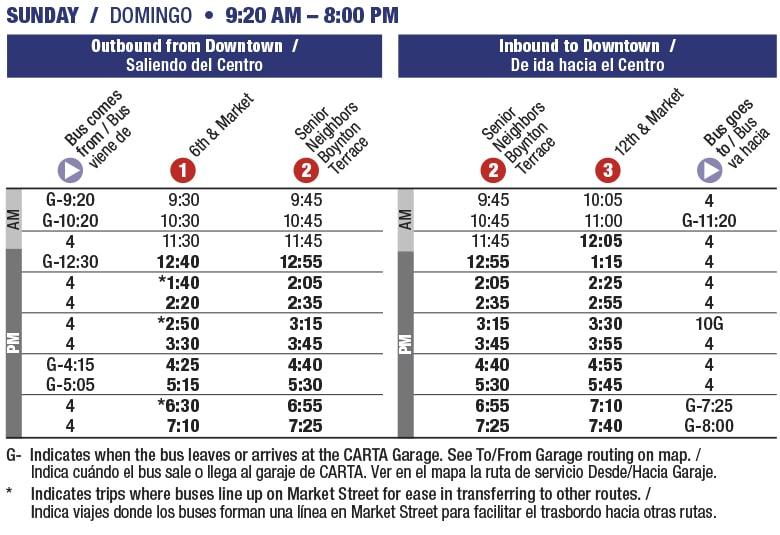 Rt 21 Golden Gateway Sunday schedule