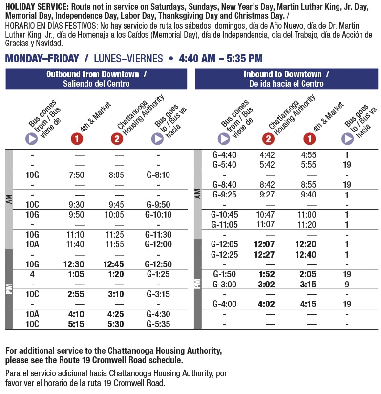 Rt 7 Chattanooga Housing Authority schedule
