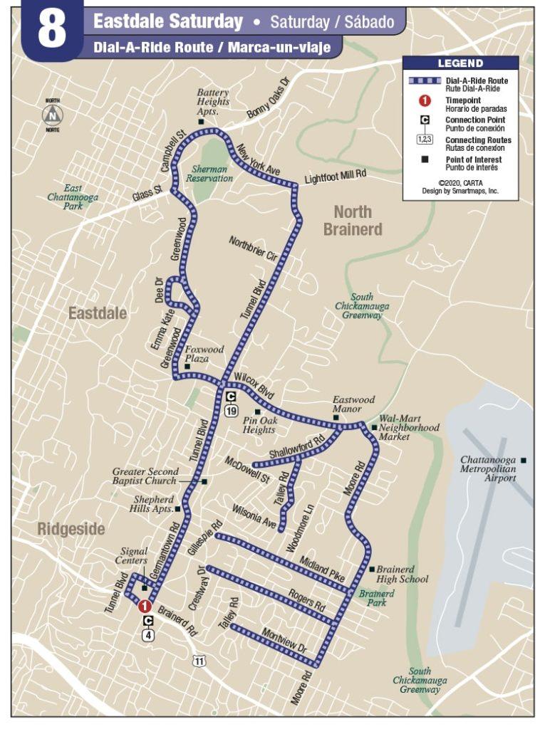 Rt 8 Eastdale Saturday map