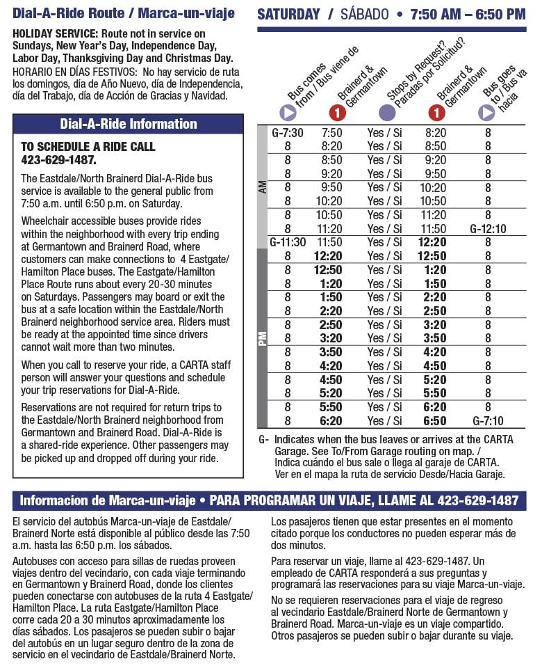 Rt 8 Eastdale Saturday schedule