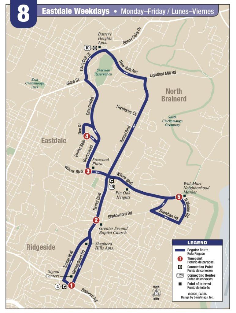 Rt 8 Eastdale Weekday map
