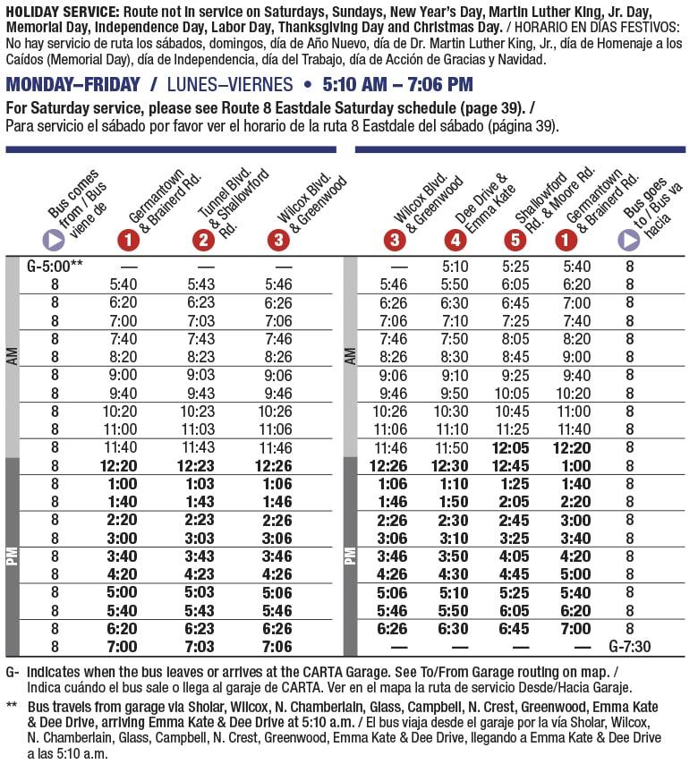 Rt 8 Eastdale weekday schedule