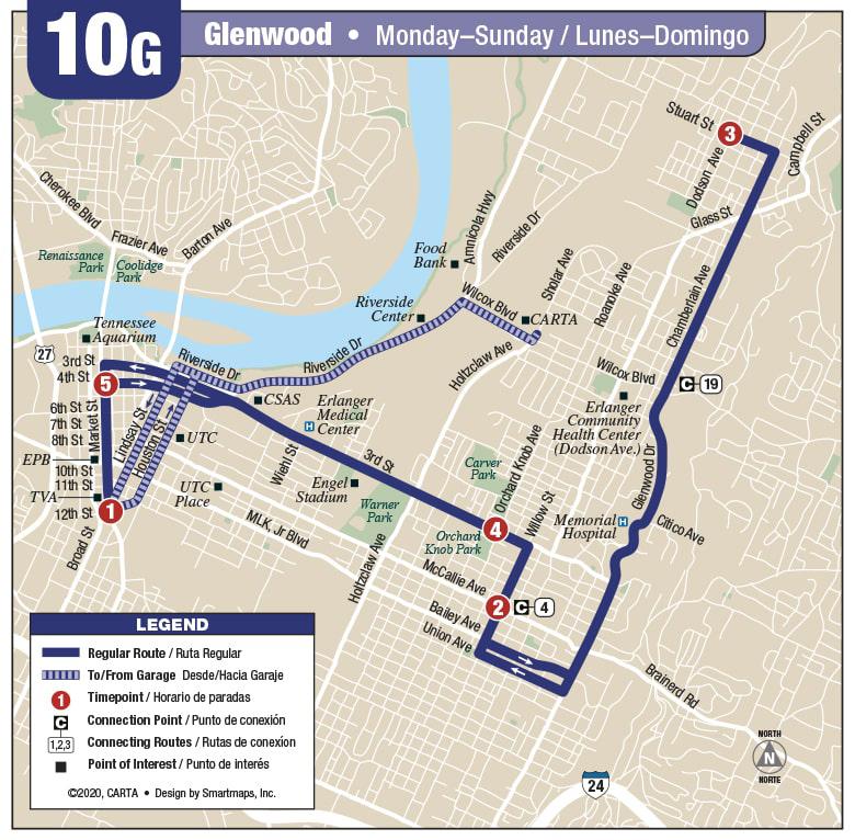 Rt 10G Glenwood map