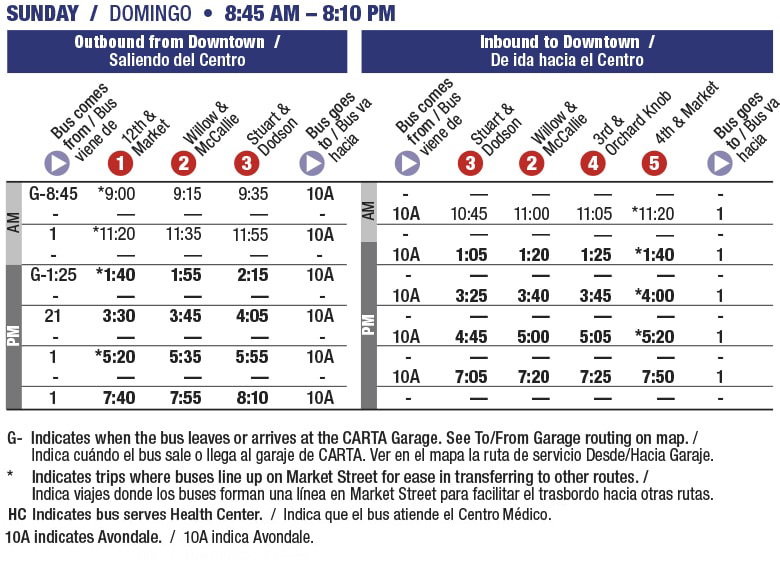 Rt 10G Glenwood. Sunday schedule