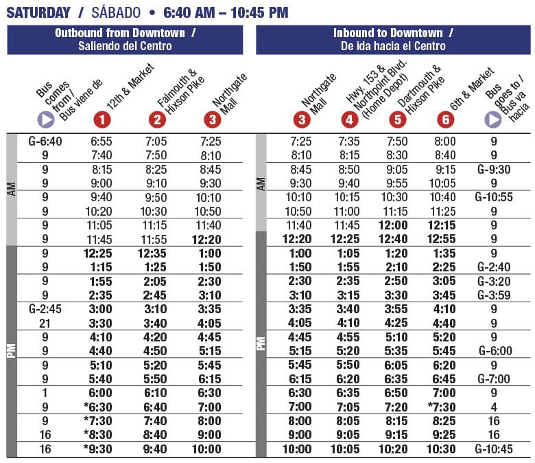 Rt 16 Northgate Saturday schedule